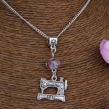 Hot 10PCS Zinc Alloy Plating Silver Sewing Machine&Flower Bead Charm Pendant Popular Necklace Jewelry DIY For Women&Men J257 стоимость