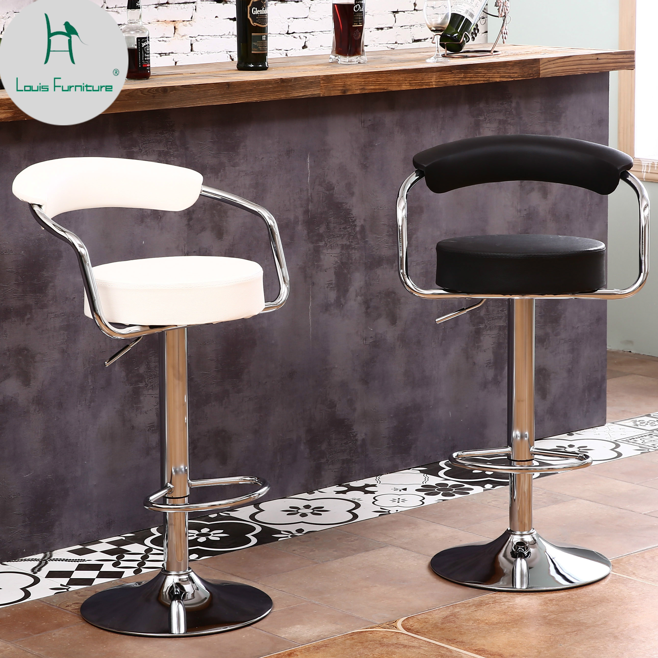 European Unique Design Simple Fashion Pu Backrest Bar Chair Lifting Stool Bar Height Adjustable Free Shipping And Digestion Helping Bar Chairs Furniture