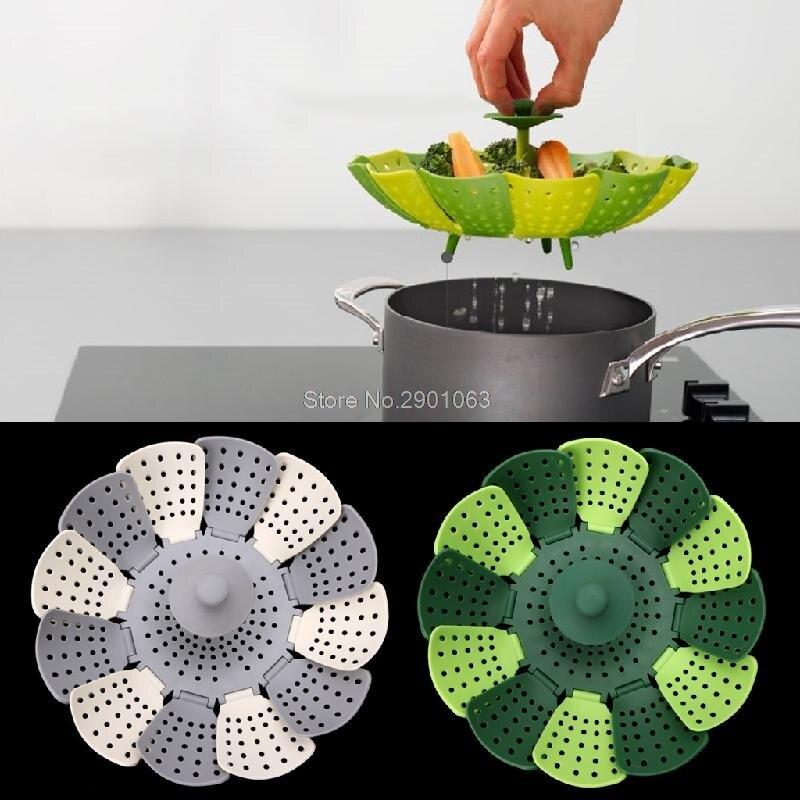 silicone pieghevole cucina a vapore di cottura degli alimenti antigraffio cesto di frutta verdura h06