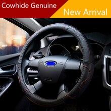LUNASBORE Adaptado Para Volante Cubierta Del Volante Del Coche de Cuero Genuino 38 cm 36 cm 39 cm para Opel Astra Ford Focus 2 3