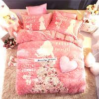 Romantic Pink Flannel fleece Princess comforter bedding sets queen size quilt cover twin 3d full bed linen coverlet Girls Kids