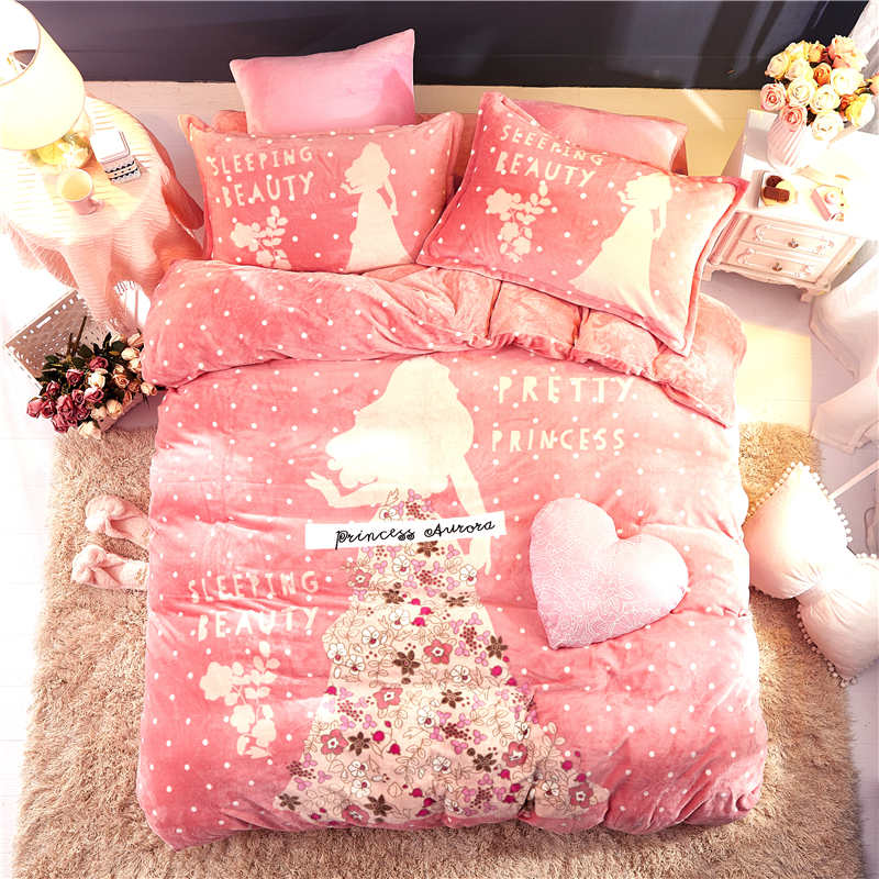 Romantic Pink Flannel Fleece Princess Comforter Bedding Sets Queen Size Quilt Cover Twin 3d Full Bed Linen Coverlet Girls Kids Bedding Sets Aliexpress