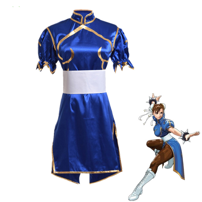 Games Street Fighter Chun Li Cosplay Costumes Sutorito Faita Blue Cheongsam Dress Belt Headgear For Women Girls Party Clothes