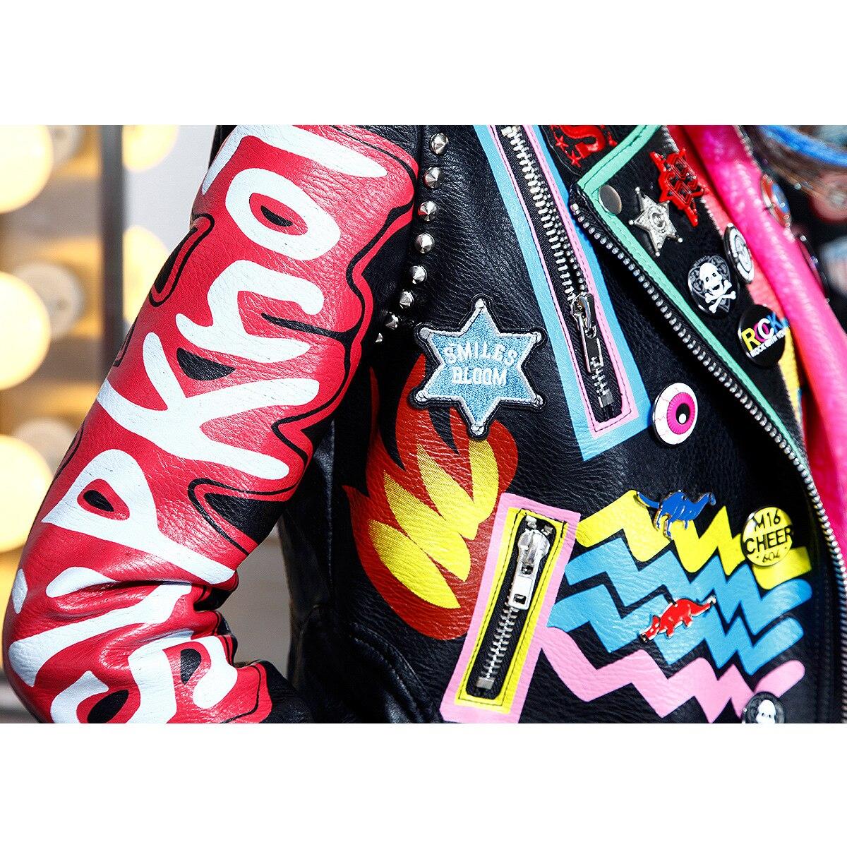 Cuir Femmes Cazadora Lettre Cuero Rivets Multi Graffiti Manteaux By6025 Moto Imprimer Veste Mujer Épaulettes Biker Rue Printemps 2017 En Iwq6fwt