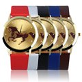 Fashion Precise Time Round Golden Dial Horse Pattern Men Boys Slica Gel Band Quartz Wrist Watch relogio