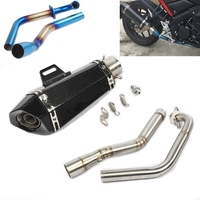 Motorcycle Slip On Stainess Steel Exhaust Muffler Middle Connector Link Pipe Modified For Yamaha YZF R15 MT 15 2008 2017 MT 125