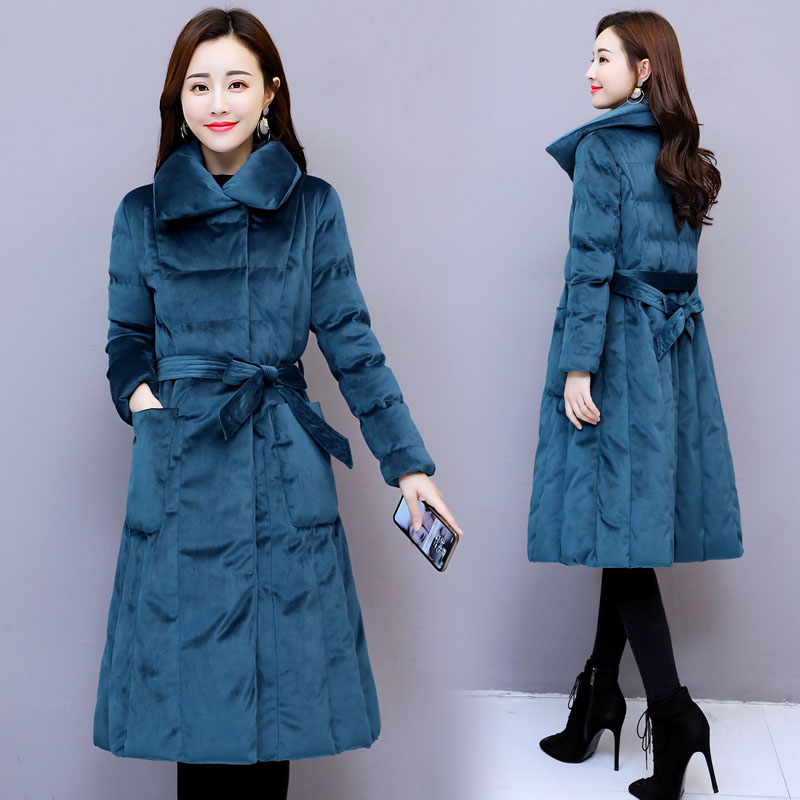 Gold Velvet Cotton-padded Long Wind Coat   Trench   Female Clothes Stylish Thicken Women's Windbreakers Casaco Feminino Raincoat