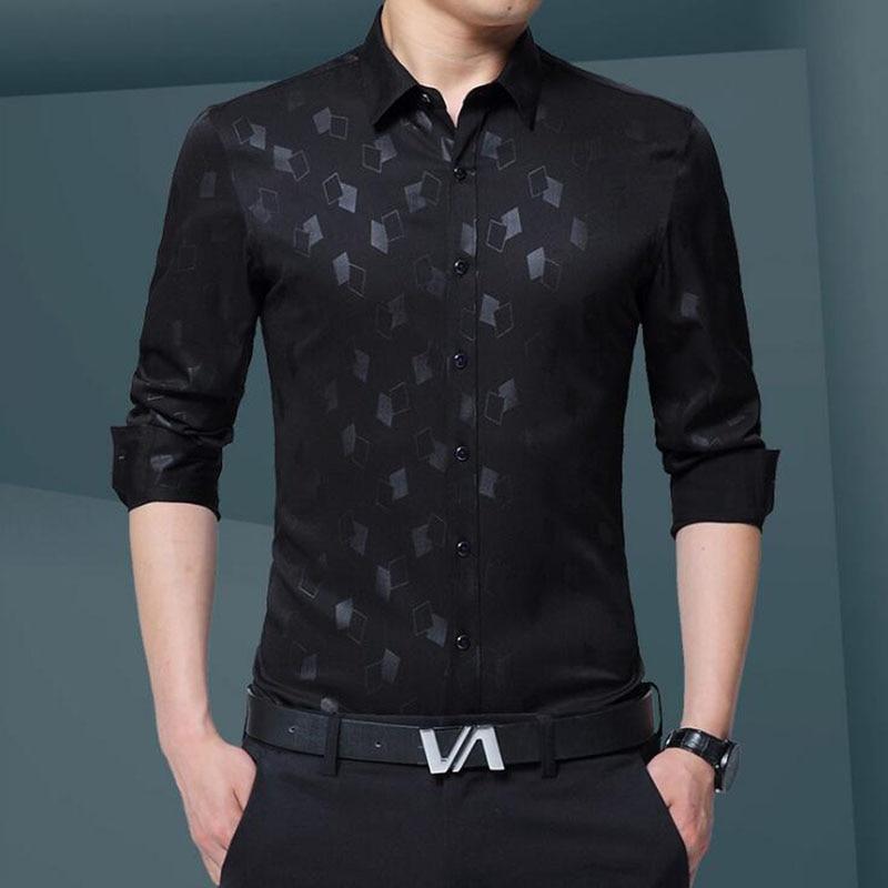 Lüks Artı Boyutu Erkek Gömlek 2017 Sonbahar Gelgit Flora Baskı - Erkek Giyim - Fotoğraf 6