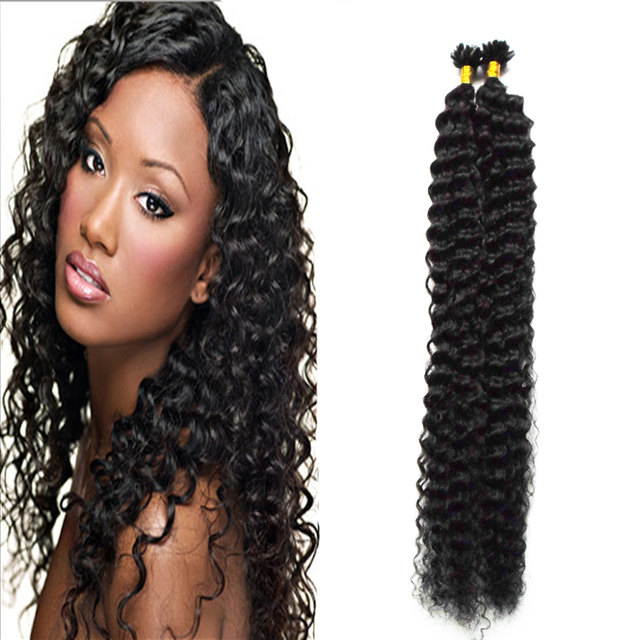 Keratin Bond Hair Extensions Natural Black Brazilian Deep Curly Hair