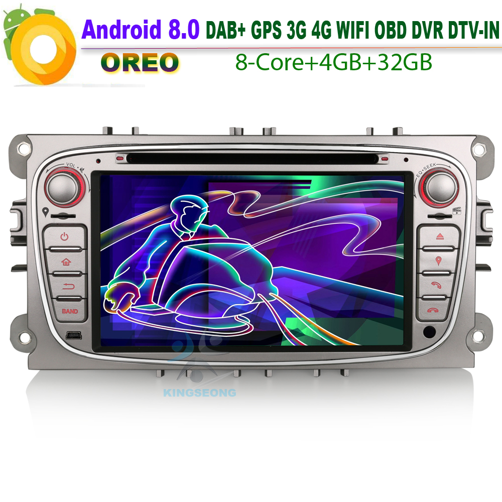 Android 8.0 Autoradio <font><b>GPS</b></font> DAB+ Car Multimedia player FOR <font><b>Ford</b></font> <font><b>Focus</b></font> <font><b>C</b></font>/S-<font><b>Max</b></font> Mondeo Galaxy CD Canbus SD WiFi 3G 4G DVR OBD BT image