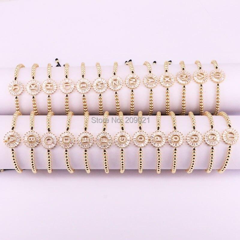 10Pcs Gold Color Micro Pave CZ 26 Alphabet Letter Braided Macrame Bracelet Fashion Jewelry