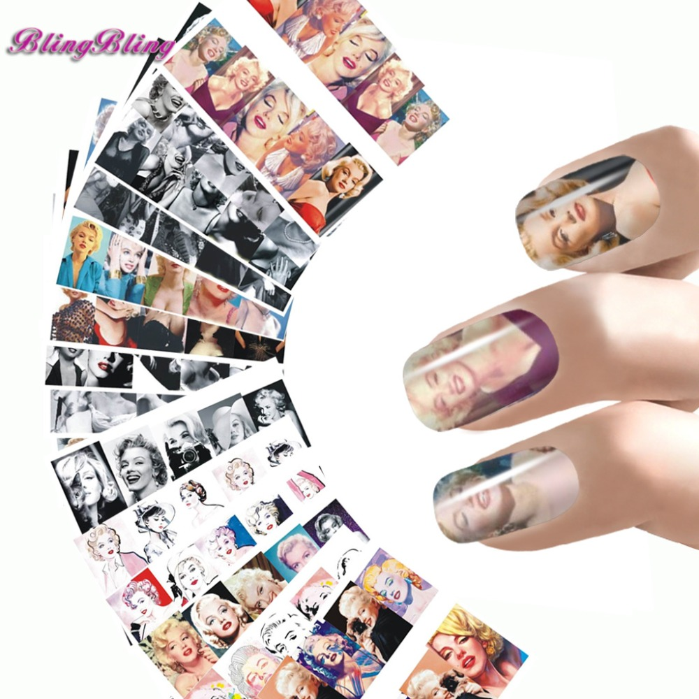 Sexy Beauty Nail Wraps Marilyn Monroe Designs Water Transfer Nail Art Stickers Foils Manicure Wrap Decals 15Kinds Of Styles 2016 2sheets manicure tips beauty purples oil printing 3d diy designs nail art water transfer stickers decals full cover xf1405