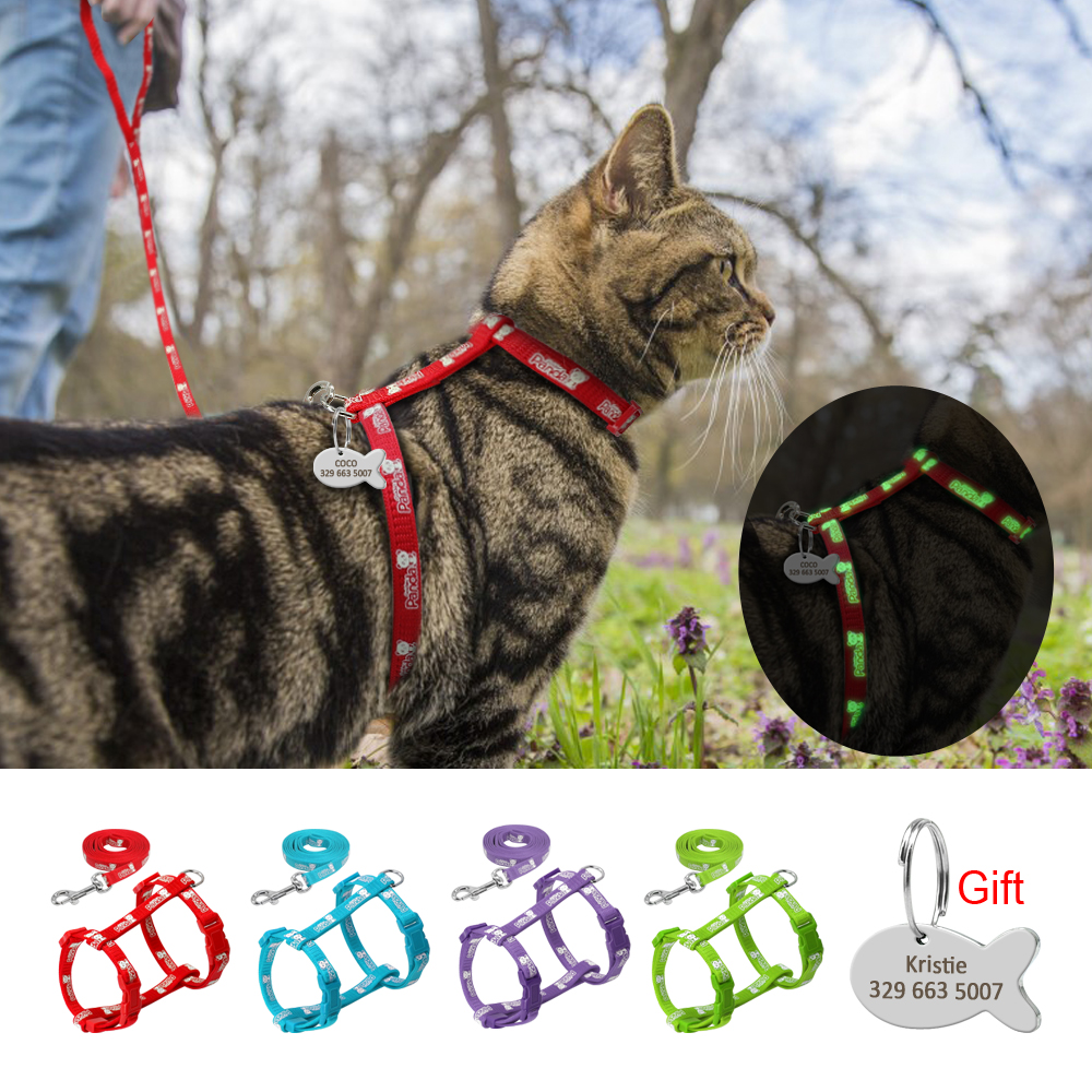 4 Colors Nylon Reflective Cat Puppy Harness Leash Lead Set Walking Adjustable Pet Traction Vest Belt For Cat Kitten Gift Id Tag