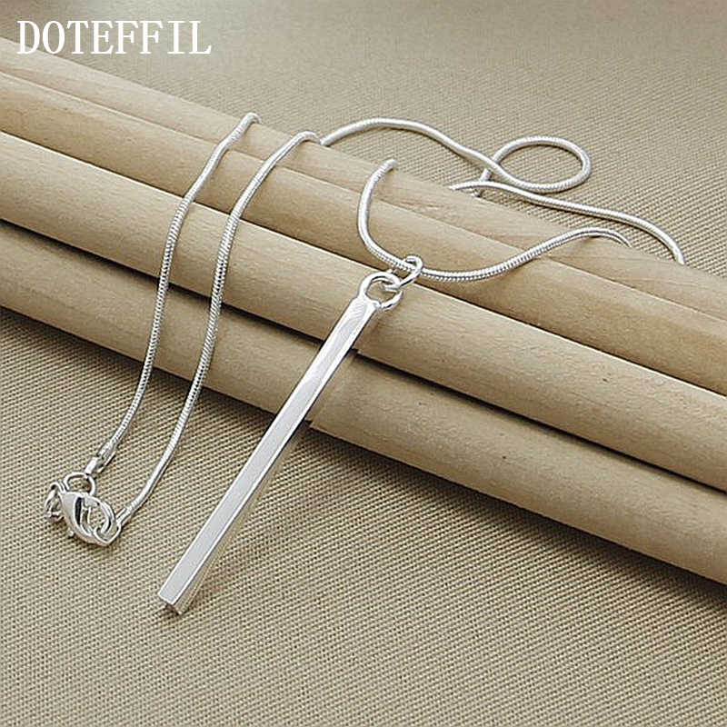 Wholesale Luxury Brand Necklace 925 Silver Color Necklace Jewelry Square/ Round Column Couples Necklace Christmas Gift Hot Sale