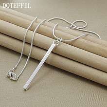 Wholesale Luxury Brand Necklace 925 Silver Color Necklace Jewelry Square/ Round Column Couples Necklace(China)