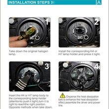 Car Headlight LED Car Headlights H7 Bulbs Conversion Kit with Tinned Copper Braid 2pcs 6000K Copper Braid All-in-one Design