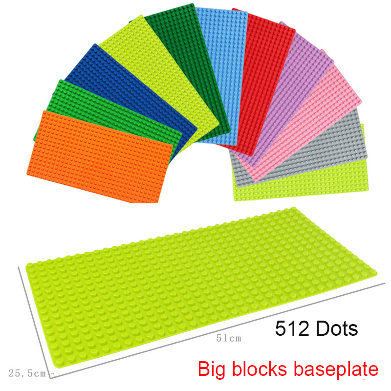 Children Big Particles Building Blocks Base Plate 51*25.5cm Baseplate 100% Compatible legoinig Duploe Kids Diy Bricks Toys new big size 40 40cm blocks diy baseplate 50 50 dots diy small bricks building blocks base plate green grey blue