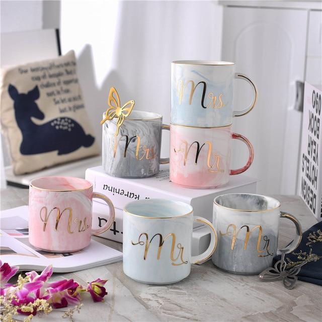 europe style gold monogram mugs natural marble porcelain coffee mark