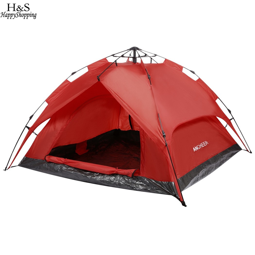 ANCHEER Brand New 3-Person Camping Hiking Tent Automatic Instant Setup Dome Tent Dual Layer with Shelter with carrying bag shengyuan outdoor water resistant automatic instant setup two doors 3 4 person camping tent with canopy