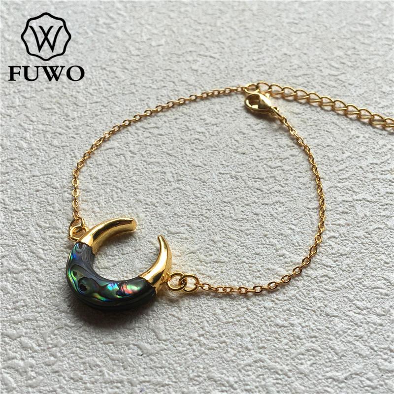 Image 2 - Браслет в виде раковины Abalone FUWO, браслет в форме полумесяца с  золотым наконечником из латуни, модный двойной браслет «Рог»  BR502Цепочки и браслеты
