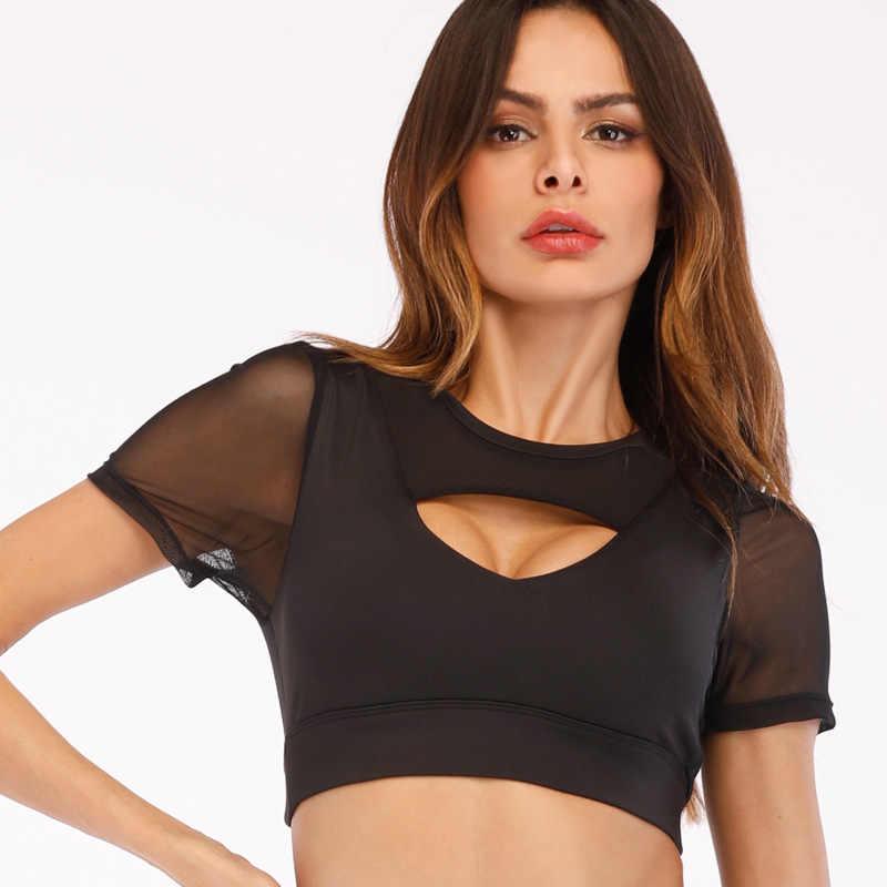 2018 جديد المرأة اليوغا قمصان مثير سترة رياضية علوية نمط اللياقة البدنية المحاصيل قميص الصلبة تشغيل قميص رياضة رياضة ملابس تانك القمم رياضية