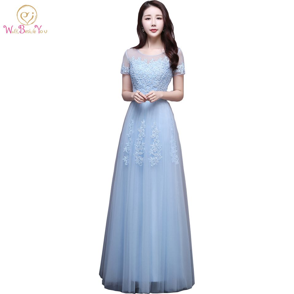 Sky Blue Pink Evening Dress Short Sleeves Lace Applique Prom Dresses ...