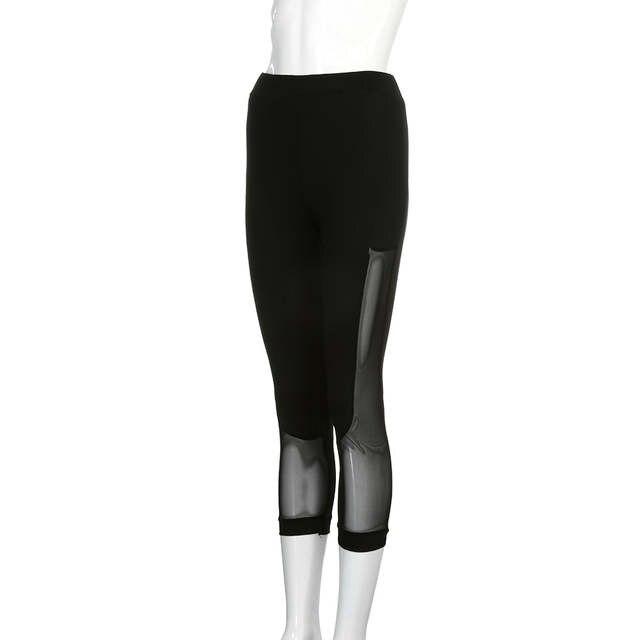 6afafab1faf39 Black Sexy Mesh Woman Yoga Pants Sport Gym Fitness Trousers lady girl  Elastic Patchwork Sports Capri