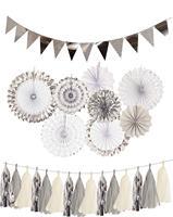 Серебряный бумажный веер, висячие украшения, набор с серебряными баннерами, Вымпел, бумага, кисточка, гирлянда для помолвки, украшения для д...