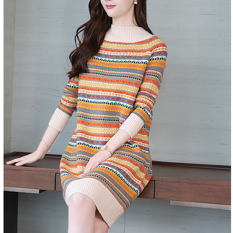 New Arrival Autumn Long Knitted Pullovers Ladies Long Sleeve O-Neck Casual Printed Pull Dress Women Striped Floral Sweaters