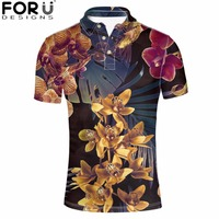 FORUDESIGNS Men Plus Shirts Floral Retro Summer Mens Polo Shirt Casual Flower Printing Male Clothing Tops Tees Colorful 2018