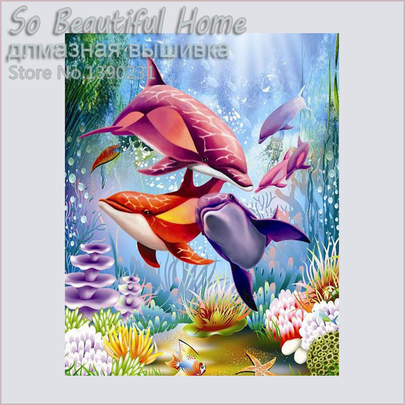 New arrival 5D diamond embroidery diy diamond Painting cartoon dophin pictures diamond m ...