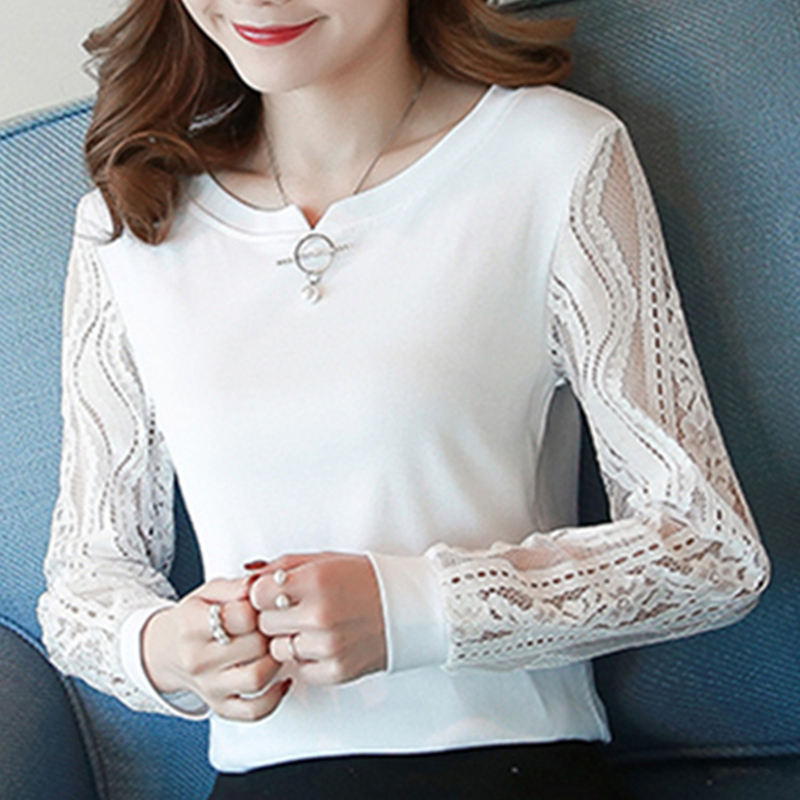 2018 New Arrival Women   Blouse     Shirt   Long Sleeve Hollow Out Chiffon   Blouses   White Office Lady O-Neck Women's Tops Blusas Solid