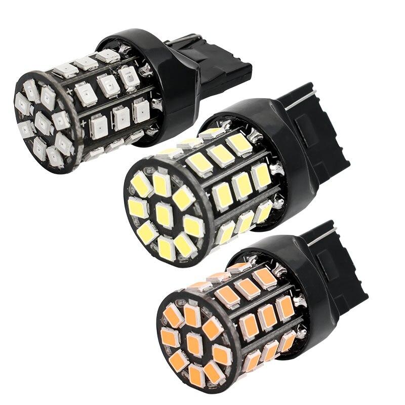 Faro LED rojo para coche, luz de señalización de giro trasera, ámbar, T20 7440 W21W 33 SMD 2835, 12V, antiniebla, W21