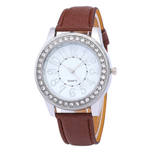 new women watches crystal leather ladies  bracelet watch Casual fashion digital  Simple Female quartz watch Stainless steel dial