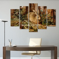 5pcs Retro Big Size Decoration Easter Rabbit Wall Art Picture Poster Forest Blue Flower Canvas Painting