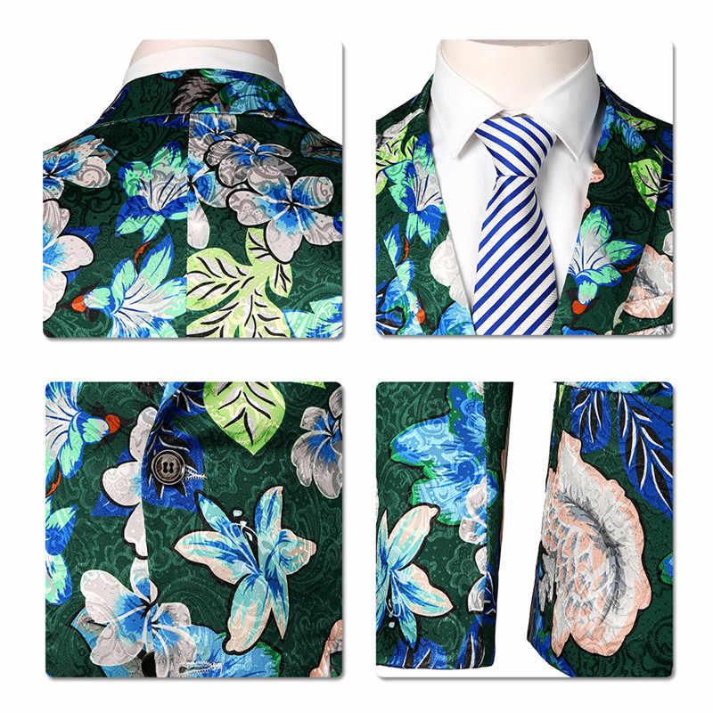 YUNCLOS 2019 グリーンフラワープリント男性ブレザーカジュアルパーティー結婚式のスーツジャケット宴会ディナーパーティースリム男性二ボタン