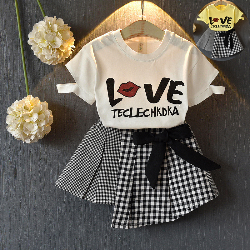 Girl clothing set kids clothes suit children print O-neck T - shirt short skirt kids fashion toddler girls summer clothing set baby fashion clothing kids girls cowboy suit children girls sports denimclothes letter denim jacket t shirt pants 3pcs set 4 13