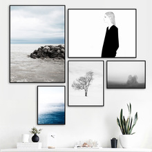 Blue Sky Sea Reef Tree Girl Landscape Wall Art Canvas Painting Nordic Posters And Prints Wall Pictures For Living Room Decor blue sky snow mountain forest landscape wall art canvas painting nordic posters and prints wall pictures for living room decor