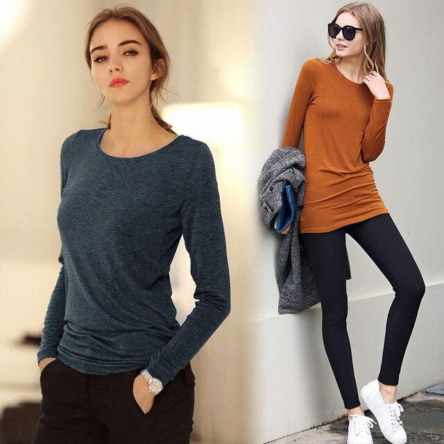 Long Sleeve O-Neck Shirts Women Tops Soft Cotton t-shirt Women Slim Render Unlined Upper Garment Camisas Roupas Blusas Femininas