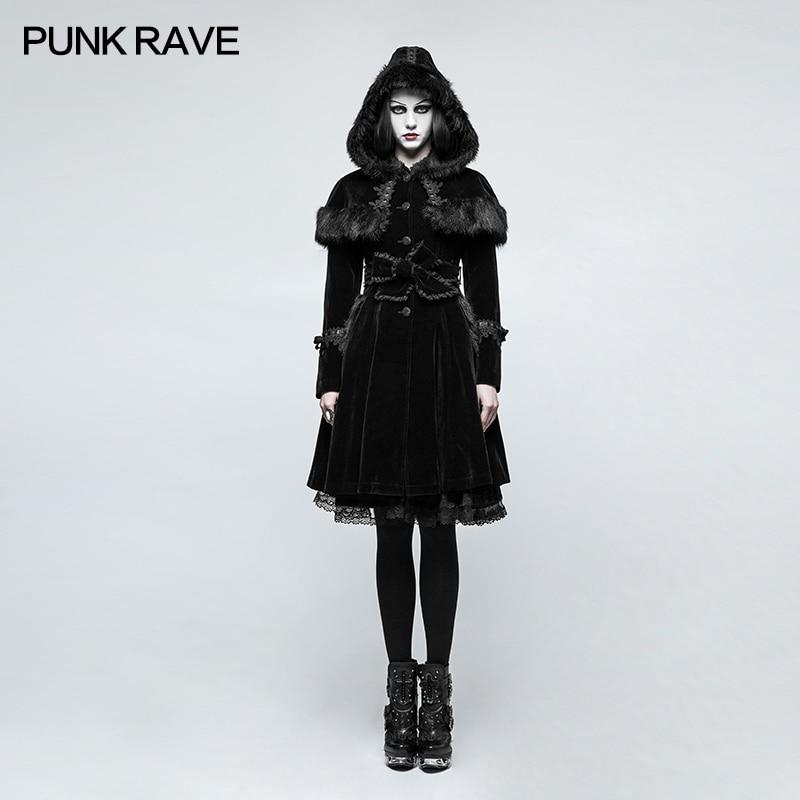 PUNK RAVE Fashion Gothic Lolita Women Jacket Winter Punk Gorgeous Christmas Long Coat Casual Hooded Witch Cosplay Long Jacket