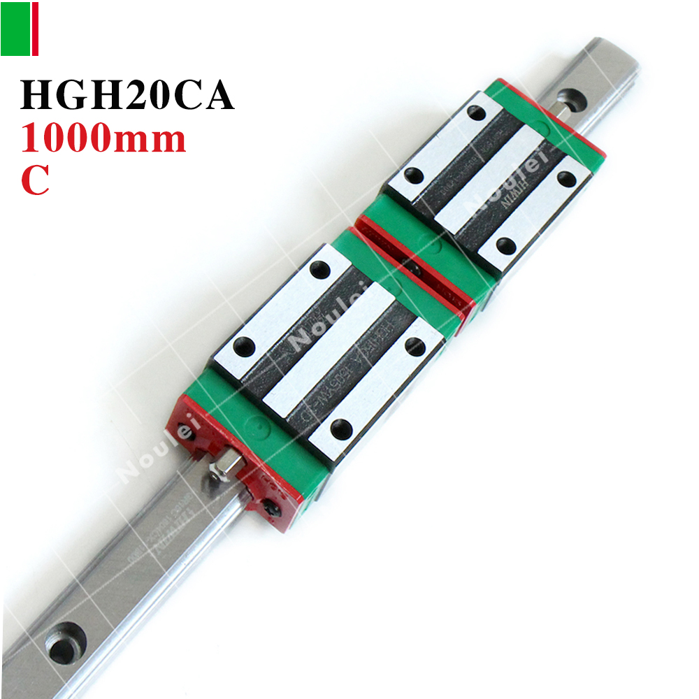 CNC Guide Rails, 1pcs HIWIN HGR20 Linear Rail 1000mm + 2pcs HGH20CA CNC Linear Guide Rail Block tbi 2pcs trh20 1000mm linear guide rail 4pcs trh20fe linear block for cnc