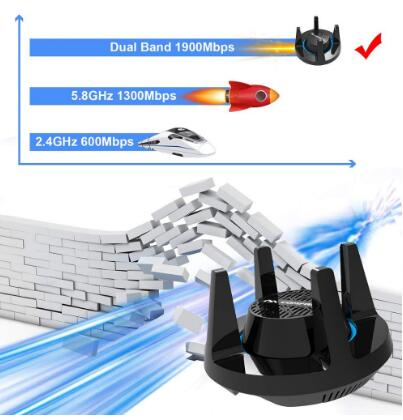 כרטיסי רשת כרטיסי Comfast AC1900 wirelss Gigabit USB מתאם WiFi כרטיס רשת הספורט האלקטרוני 3.0 Band Dual 1900Mbps 2.4G / 5.8G 4x3dBi משחק אנטנה (1)