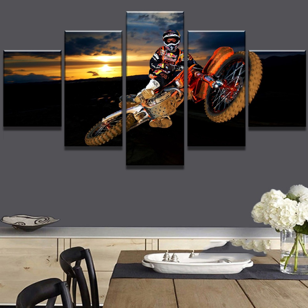 5 Panel Canvas Art Motocross Car Sport Poster Cuadros Decoracion Paintings on Canvas Wall Art for Home Decorations Wall Decor in Painting Calligraphy from Home Garden
