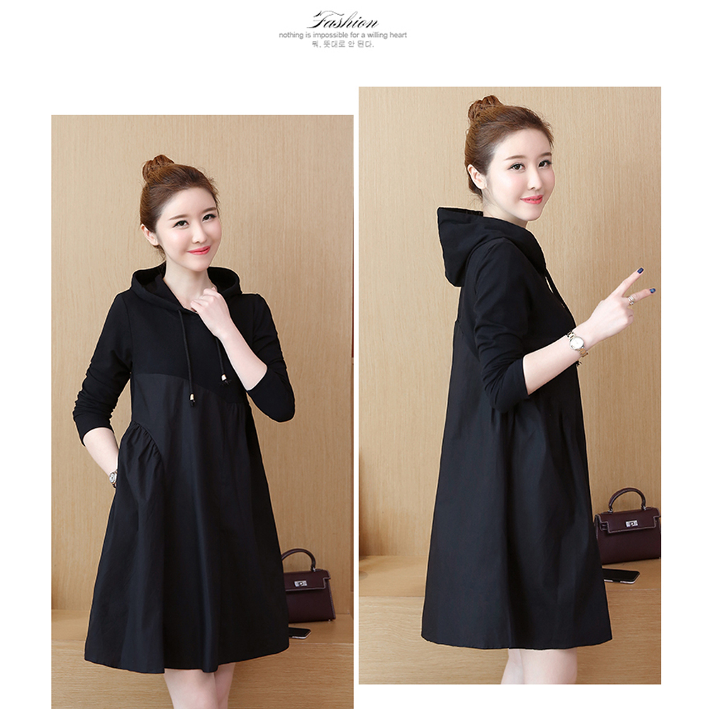 Spring and summer new style Mid-length stitching hooded dress Fall fashion new large size dress stitching 30