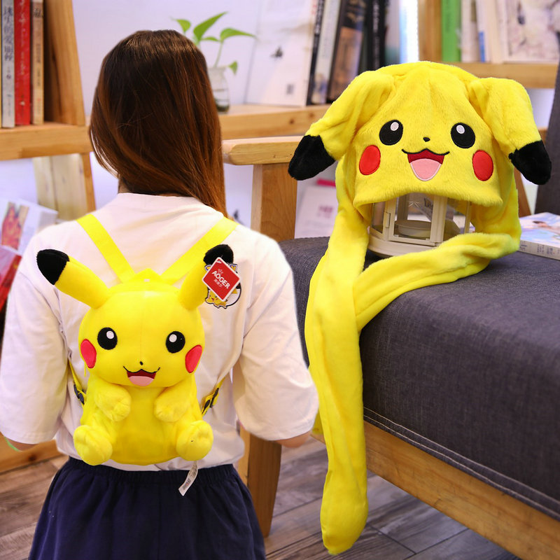 Adorable Pikachu Backpack Anime Figure Pikachu Crossbody Bags Moveable Flappy Ears Cap Pikachu School Shoulders Bag For Children