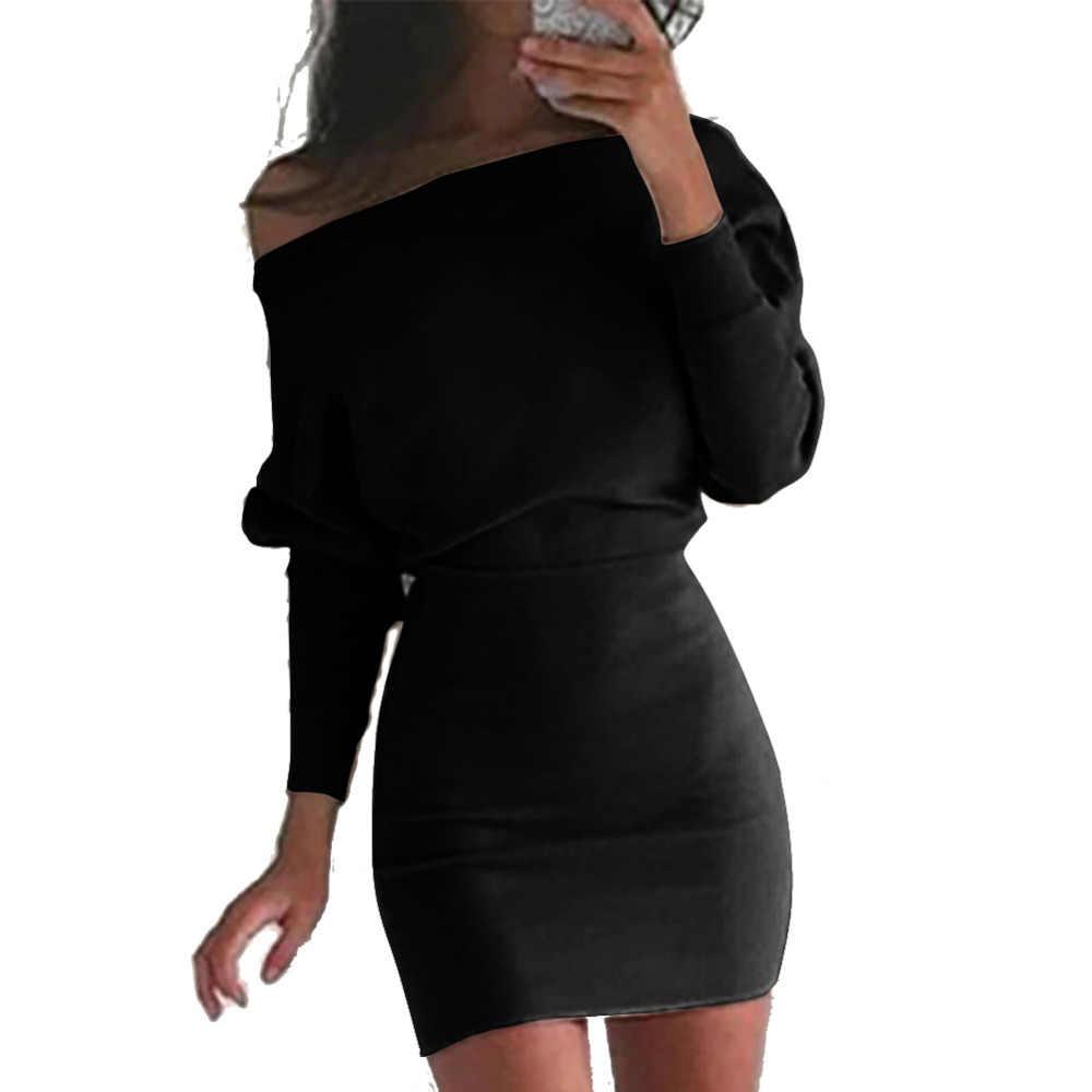 Anself модное женское повседневное облегающее платье с одним плечом, платье с длинным рукавом, с открытыми плечами, платье-футболка, женское черное/хаки/красное
