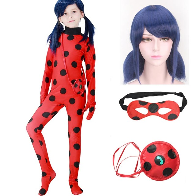 OLN Girls LadyBug Costume Cosplay Clothing Sets Kids Halloween Party Marinette Little