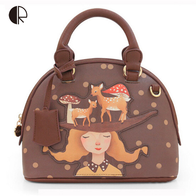 ФОТО  Women Cartoon Lovely Girl Shell Tote Appliques Shoulder Bag Vintage Fresh Style Deer Mushroom Pattern BH350
