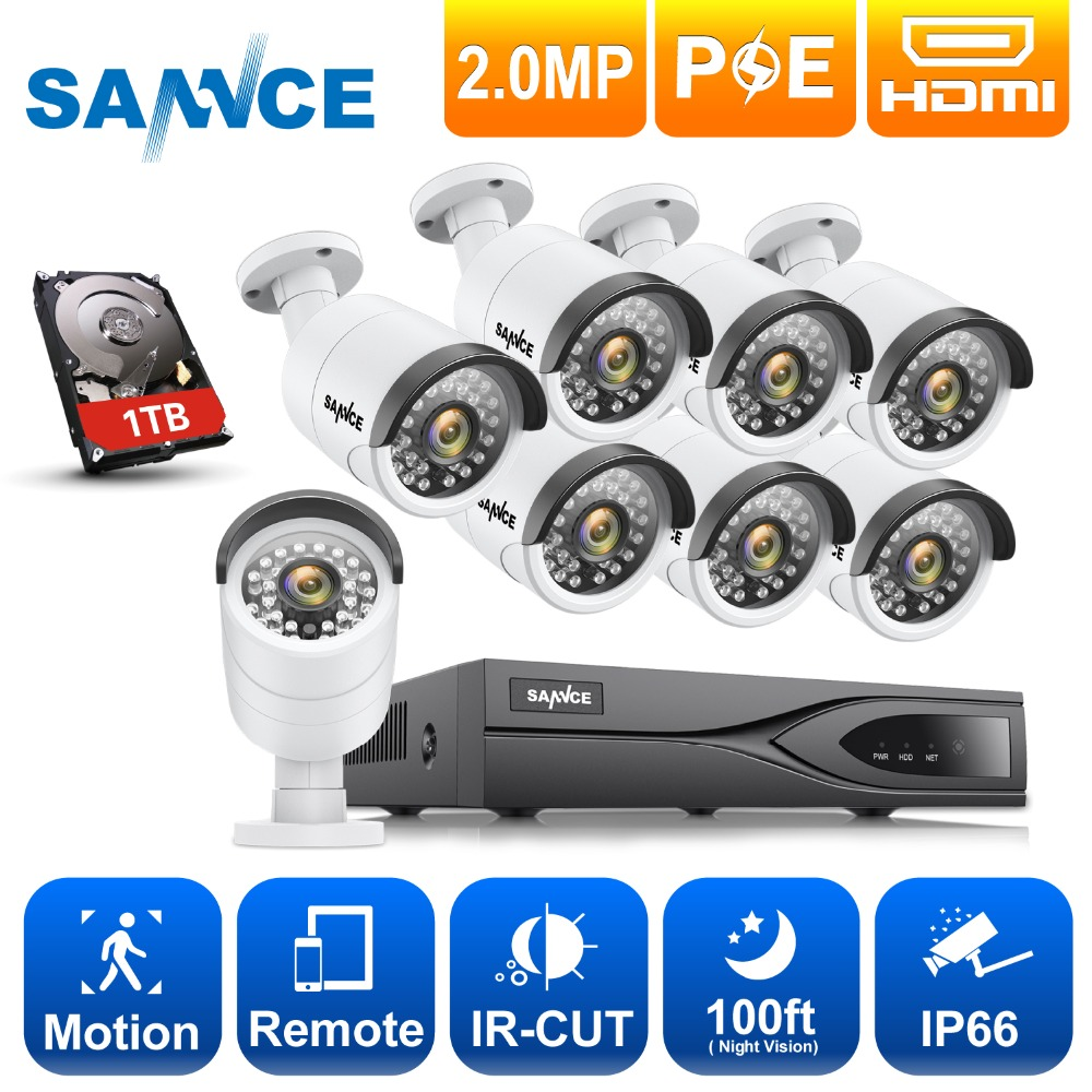 SANNCE NVR Kit 8 pcs 8CH POE 1080 p CCTV Système POE NVR 1080 p Vidéo Sortie 2.0MP CCTV IP caméra de Sécurité À Domicile Kits De Surveillance