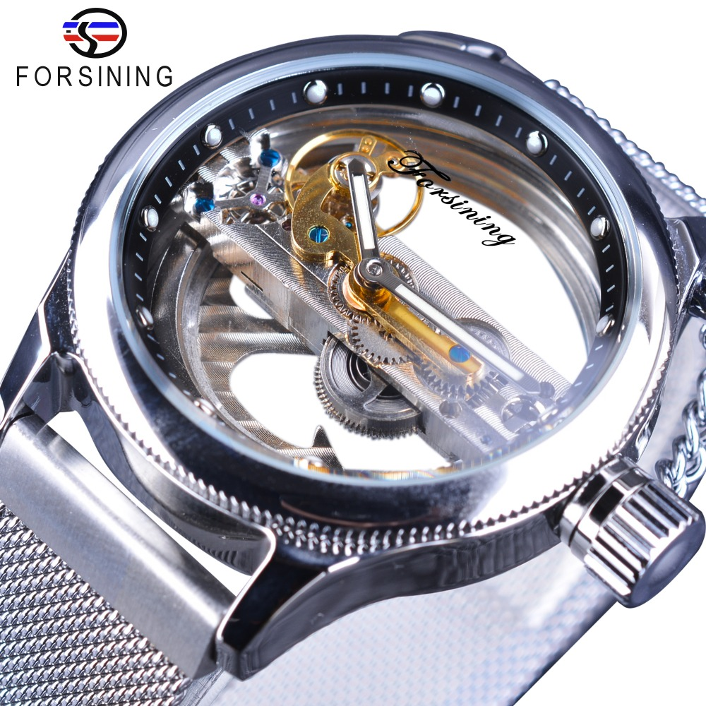 Forsining Transparent Open Work Steel Mesh Band Skeleton Mens Creative Watches Top Brand Luxury Automatic Fashion Wristwatch baogela hollow skeleton automatic mechanical watches mens top brand luxury leather band gold business wristwatch